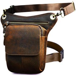 Le'aokuu Herren Echtes Leder Tasche Beinbeutel Beintasche Außenbeintasche Hüfttasche Drop Leg Thigh Bag Outdoors Messenger Bag 211-1 (211-1 Dunkelbraun)