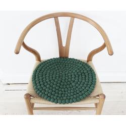 Wooldot Sitzkissen Uni Color, rund, Filzkugel-Teppich, Wolle, auch als Set bestellbar grün