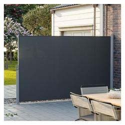 SONGMICS Seitenmarkise GSA184G 180 x 400 cm (H x L), Sichtschutz, Sonnenschutz, Garten, grau