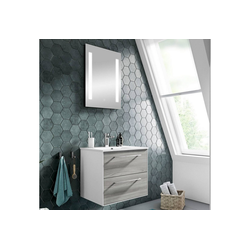 Lomadox Waschtisch-Set FES-3065-66, (Spar-Set), Waschtisch & Spiegel in weiß matt & Sangallo grau quer Nb., inkl. LED - B/H/T: 63,6/200/44,7cm 64 cm x 200 cm x 45 cm