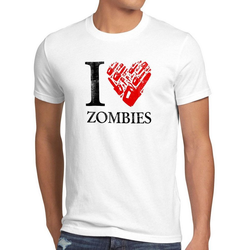 style3 Print-Shirt Herren T-Shirt Love Zombie walking kettensäge dead the halloween horror film axt weiß XL