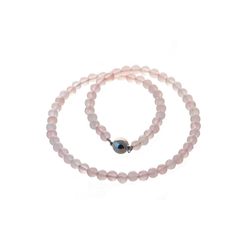 Bella Carina Perlenkette Rosenquarz 8 mm, Rosenquarz 8 mm Perlen rot 42 cm