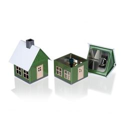 Crottendorfer Räucherhaus 2203, Waldhaus in grün, Räucherhäuschen aus Metall für Standardräucherkerzen