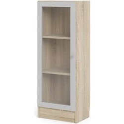 Regal 4 Ablagen Glastür weiß Eiche Holz Standregal Vitrine Bücherregal Wandregal