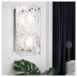etc-shop Wandleuchte, Wandleuchte Kristall LED Wandlampen modern Wandleuchte Glas satiniert, 2x 4W 2x 320 lm warmweiß, LxB 24x12 cm