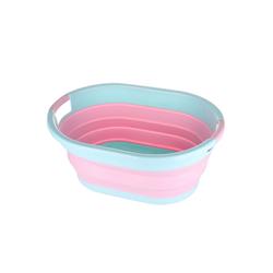 SOSmart24 Wäschekorb SOSmart24 SO SMART Faltbarer Wäschekorb rund aus Plastik - Blau Rosa - 50 L Volumen - Wäschesammler faltbar klappbar Aufbewahrungsbox Camping Laundry basket Plastikwanne Waschkorb groß klein tragbar