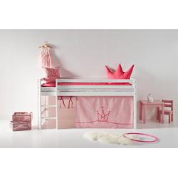 Hoppekids Hochbett mit Matratze und Textil-Set rosa 101 cm x 208 cm x 105 cm