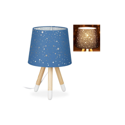 relaxdays Tischleuchte Tischlampe Kinderzimmer Sterne blau