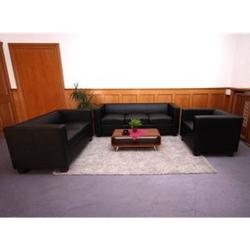 3-2-1 Couchgarnitur Lille, Kunstleder ~ schwarz