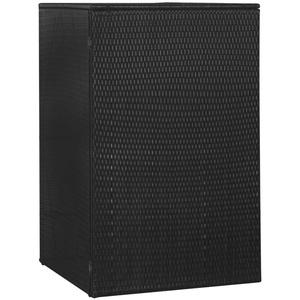 UnfadeMemory Mülltonnenbox Mülltonnenverkleidung Müllbox Poly Rattan Mülltonnenschrank Gartenschrank Gerätebox mit Aufklappbare Deckel (76x78x120 cm, für 1 Tonne, Schwarz)