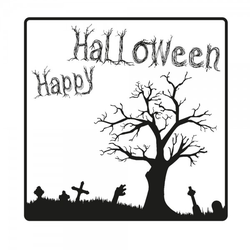 Halloween Holzstempel - Friedhof (50x50 mm)