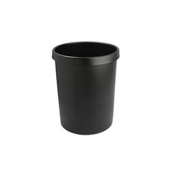 Lüllmann Papierkorb Papierkorb - 18 L/30L/45 - schwarz - 3 Größen wählbar, - Schlag- und bruchfestes Polypropylen 30.00 l - Ø 35 cm x 35 cm x 40.5 cm
