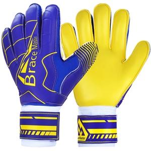 Brace Master Torwarthandschuhe mit Fingerschutz,Protect & Super-Grip 3+3MM Handflächen Fussball Torwarthandschuhe Kinder Herren & Erwachsene - Diverse Größe und Farben (10, Blau + Gelb)