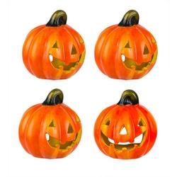 BigDean Windlicht Kürbis 10x11 cm Halloween Dekoration Herbstdeko Teelichthalter aus Keramik (4 Stück)