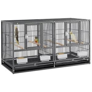 Yaheetech Vogelkäfig, Großer Vogelvoliere Papageienkäfig Doppelkäfig Trennwand Trenngitter Zuchtkäfig Vogelhaus 96 X 46X 53 cm Schwarz schwarz