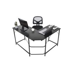 Gotui Computertisch, Computertisch Eckschreibtisch L-förmiger Computertisch, Eckschreibtisch, Schwarz, 124*120*77cm