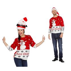Wilbers Pullover & Shorts Wilbers Weihnachtspullover Schneemann rot-weiß S-XXL Weihnachten Pulli XL