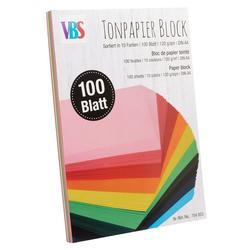 VBS Papierkarton Tonpapier-Block DIN A4, farbig sortiert 100 Blatt
