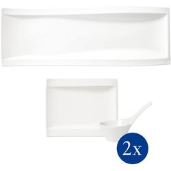 Villeroy & Boch Geschirr-Set NewWave Antipasti Set (5-tlg), Porzellan weiß