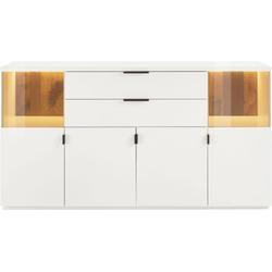 Quadrato Sideboard Modena, Rückwände aus massivem Altholz mit Gebrauchsspuren weiß