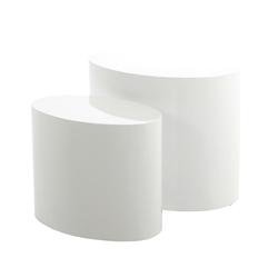 Zestaw dwóch stolików kawowych Plomin 48x33 cm i 40x24,5 cm biały połysk