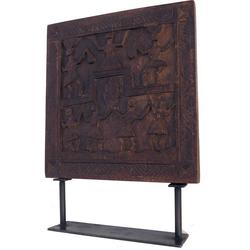 Guru-Shop Dekoobjekt Holzbild, Holzskulptur mit Ständer