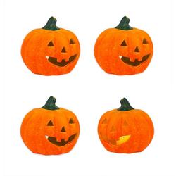 BigDean Windlicht Kürbis groß 13x14 cm Halloween Dekoration Herbstdeko Teelichthalter aus Keramik (4 Stück)