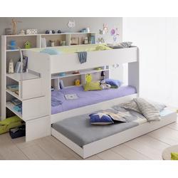 Parisot Kinderbett Bibop mit Tili, Etagenbett Kinderbett Jugendbett 90 x 200 cm, Dekor Weiss mit Schubkasten als 3. Bett