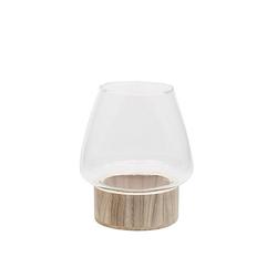 Glasvase mit Holzfuß, rund, 21 cm