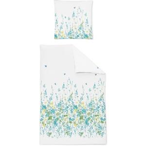 Irisette EOS Mako-Satin Bettwäsche Blumen grün verspielt 135x200 2-tlg. 8749-20
