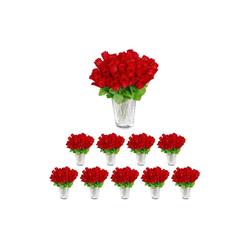 Künstliche Zimmerpflanze Kunstrosen rot 480 Stück, relaxdays, Höhe 26 cm