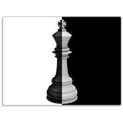 Wallario Schneidbrett Schachfigur schwarz-weiß, ESG-Glas, 30 x 40 cm