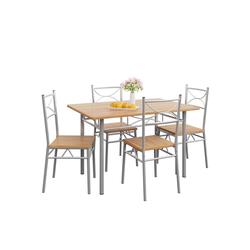 Casaria Esstisch Paul (5-St), Tisch für 4 Personen braun