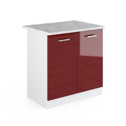 Vicco Spülenunterschrank 80 cm mit Arbeitsplatte Küchenschrank Unterschrank Küchenunterschrank R-Line Küchenzeile rot