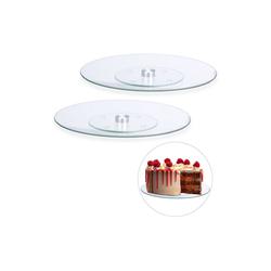 relaxdays Tortenplatte 2 x Drehbare Tortenplatte Glas, Glas