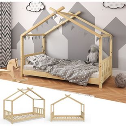 VITALISPA Kinderbett Hausbett DESIGN 80x160cm Natur Zaun Kinder Holz Haus Hausbett
