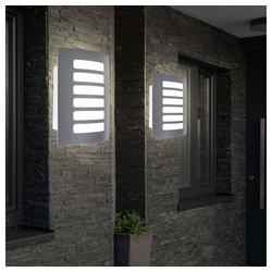 etc-shop LED Außen-Wandleuchte, 2x LED Außen Wand Fassaden Lampe Garten Balkon Leuchte ALU Leuchte grau
