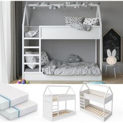 VITALISPA Hochbett Massimo Kinderbett Etagenbett Doppelstockbett Holzbett Weiß + 2 Matratzen
