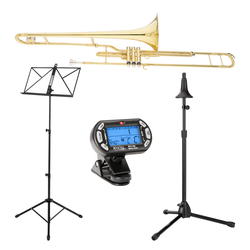 Classic Cantabile Brass VP-16 Ventilposaune Set incl. Metronom, Notenständer, Posaunenständer
