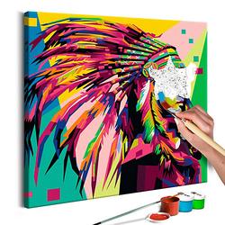 Malen nach Zahlen Indianer (Rauchfahne) mehrfarbig Gr. 40 x 40