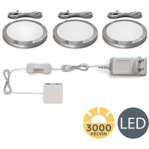 B.K.Licht LED Unterbauleuchte, 3er SET inkl. LED Modul 2W 170lm 3000K Warmweiß Schrankleuchten, Küchenlampen Aluminium-Optik