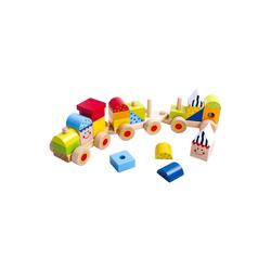 Tooky Toy Lernspielzeug Tooky Toy stapelbare Holz Eisenbahn, 26-teilig - Holzklötze Spiel-Lokomotive