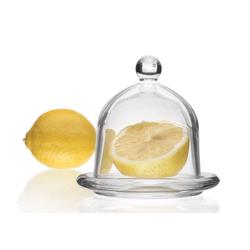 Sendez Tortenglocke Glashaube 12,5cm Glasglocke mit Teller Zitronenglocke Glasdom Muffinglocke Klar