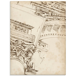 Artland Glasbild Architektur Skizzenbuch II, Architektonische Elemente (1 Stück) 45 cm x 60 cm x 1,1 cm