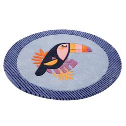 Kinderteppich E-Toucan, Esprit, rund, Höhe 9 mm, besonders weich, Motiv Toucan blau