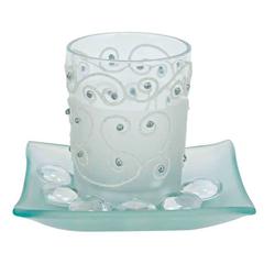 Teelichtglas Orient, Weiß