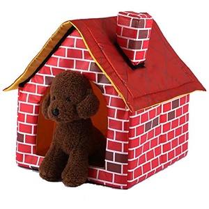Petyoung Haustier Zwinger Katze Spielen Zelt Haus für Katzen Kleine Hunde Schornstein Ziegelhaus Geformte Haustier Indoor Hundehütte