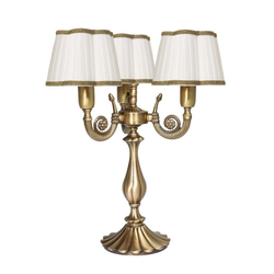 Licht-Erlebnisse Tischleuchte OLIMPO Tischlampe Messing Bronze Weiß Jugendstil Tischlampe Wohnzimmer