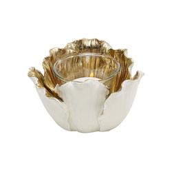 KARE Kerzenständer Teelichthalter Flower Bloom Creme Gold 10 braun