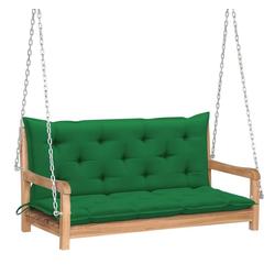 vidaXL Hollywoodschaukel vidaXL Hollywoodschaukel mit Grüner Auflage 120 cm Massivholz Teak